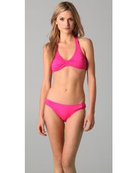 Juicy Couture | Pink Starlet Smocked Halter Bikini Top | Lyst