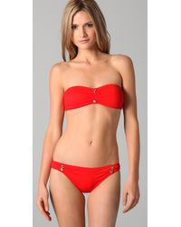 Juicy Couture - Red Miss Divine Cinched Bandeau Bikini Top - Lyst
