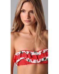 Juicy Couture | Red Pretty Polka Ruffle Bandeau Bikini Top | Lyst