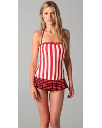 Juicy Couture | Red Sailor Girl Striped Swimdress | Lyst