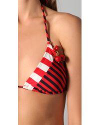 Juicy Couture - Red Sailor Girl Triangle Bikini Top - Lyst