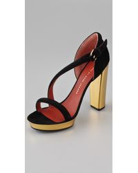 Marc By Marc Jacobs | Black Diagonal Strap Suede Platform Sandals | Lyst