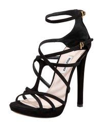 Miu Miu | Red Crisscross Strappy Anklewrap Sandal | Lyst