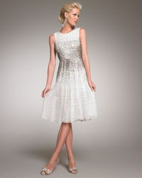 Oscar de la Renta - White Beaded Cocktail Dress - Lyst