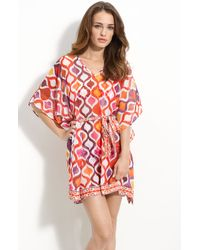 Trina Turk | Red Ogee Sheer Caftan Cover-up | Lyst
