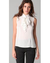 Tucker | White Sleeveless Ruffle Blouse | Lyst