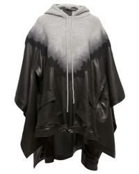 Alexander Wang | Black Knit Leather Hooded Poncho | Lyst