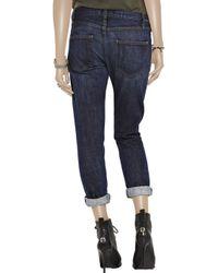 Current/Elliott Blue The Roller Low-rise Cropped Boyfriend Jeans