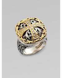 Konstantino | Metallic Sterling Silver & 18k Gold Diamond Maltese Cross Ring | Lyst