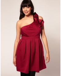 ASOS Collection - Red Asos Curve Exclusive Cocktail Dress with Corsage Shoulder - Lyst