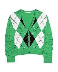 Christopher Kane Green Emerald Argyle Cashmere Cardigan