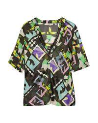 Etro | Green Geometricprint Silk Top | Lyst