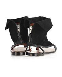 Carven | Black Velvet Leather Ankle Sandals | Lyst