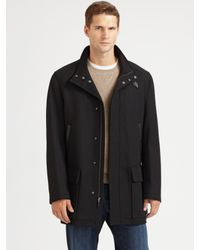 Cole Haan - Black Leather Car Coat for Men - Lyst