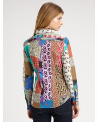 Etro | Multicolor Geometric Cotton Shirt | Lyst