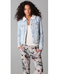 IRO | Blue Shearling Lined Denim Jacket | Lyst