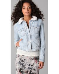 IRO - Blue Shearling Lined Denim Jacket - Lyst
