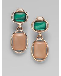 Oscar de la Renta | Blue Resin Cabochon Drop Earrings | Lyst