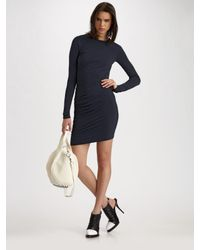 T By Alexander Wang - Blue Ruched Long-sleeve Dress - Lyst