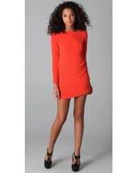 Tibi | Red Long Sleeve Shift Dress | Lyst
