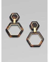 Tory Burch | Brown Hex-link Earrings | Lyst