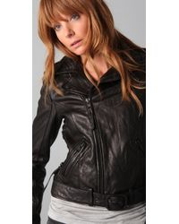 True Religion | Black Leather Lace Up Biker Jacket | Lyst