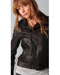 True Religion - Black Leather Lace Up Biker Jacket - Lyst
