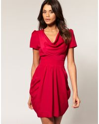 ASOS Collection | Red Asos Tulip Dress with Cowl Neck | Lyst