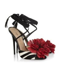 Jimmy Choo | Multicolor Faye Zebra-print Calf Hair Sandals | Lyst