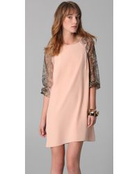 Tibi - Pink Shift Dress with Lace - Lyst