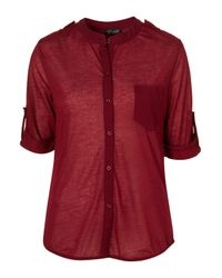 TOPSHOP | Red Half Sleeve Utility Shirt | Lyst