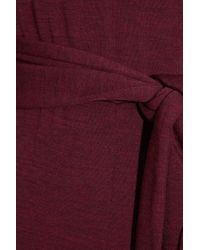 Halston Red Belted Wool Jumpsuit