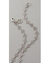 Tory Burch - Metallic Mini Clover Chain Necklace - Lyst