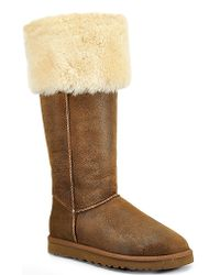 UGG | Brown Bailey Button - Chestnut Suede Over The Knee Shearling Boot | Lyst