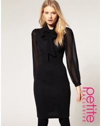 ASOS Collection | Black Asos Petite Exclusive 40s Tailored Dress with Chiffon Sleeve | Lyst