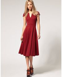 ASOS Collection | Red Asos Fit and Flare Midi Dress with V Neck | Lyst