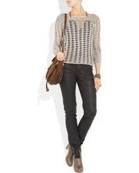 Duffy - Gray Metallic-trimmed Open-knit Sweater - Lyst