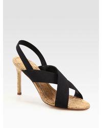 Manolo Blahnik | Black Elastic Criss-cross Slingback Sandals | Lyst