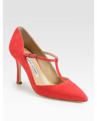 Manolo Blahnik Pink Suede Mary Jane T-strap Point Toe Pumps