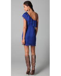 Rebecca Taylor   Blue Eyelash One Shoulder Dress   Lyst