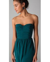 Rebecca Taylor | Blue Ruched Strapless Dress | Lyst