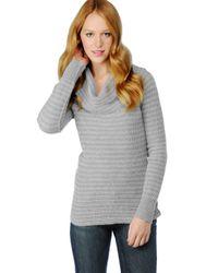 Splendid | Gray Waffle Stripe Cowl Neck Sweater | Lyst