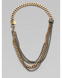Giles & Brother Metallic Multi-row Two-tone Chain Link Necklace
