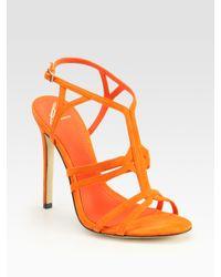 B Brian Atwood | Orange Florrina Suede High-heel Sandals | Lyst