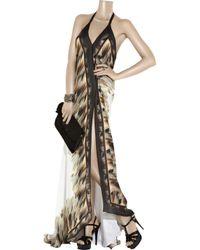 Roberto Cavalli Gray Silk Halterneck Gown