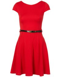 TOPSHOP Red Sleeveless Skater Dress By Rare**