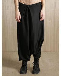 Damir Doma Black Damir Doma Mens Silk-blend Overlapping Asymmetrical Sarong Trousers for men