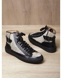 Dries Van Noten Black Mens Buckle High Top Sneakers for men