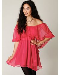 Free People - Pink Solid Babydoll Ruffle Woven Dress - Lyst