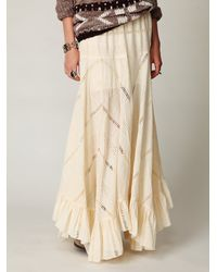 Free People - Natural Solid Pieced Maxi Skirt - Lyst